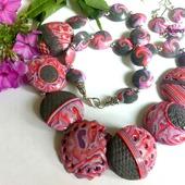 Комплект украшений  из полимерной глины Розово-серый