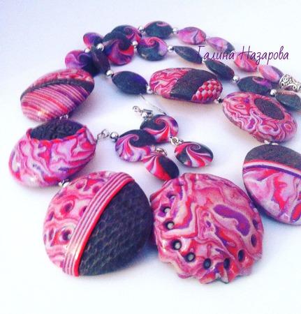 Комплект украшений  из полимерной глины Розово-серый ручной работы на заказ