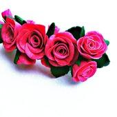 Заколка для волос Розы из полимерной глины