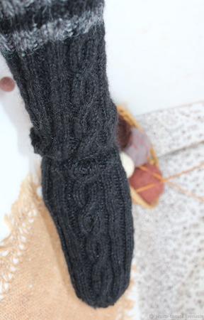 """44 (+-1) р. Носки полушерстяные вязание на спицах """"Черные1"""" ручной работы на заказ"""