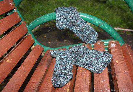 Носки универсальные черные с бирюзовым отливом ручной работы на заказ