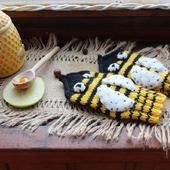 """Детские вязаные полушерстяные рукавички """"Пчёлки"""""""