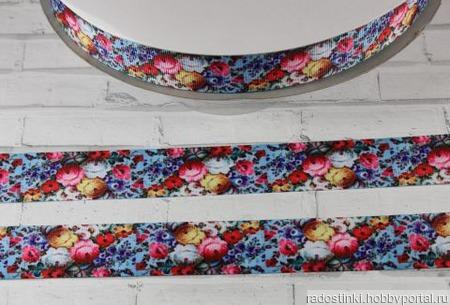 """Лента репсовая с рисунком """"Цветочный шёлк"""", ширина 25 мм ручной работы на заказ"""