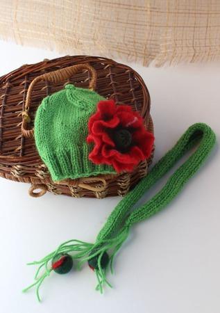 """Комплект для игрушки """"Маковый"""" (шапочка и шарфик) ручной работы на заказ"""