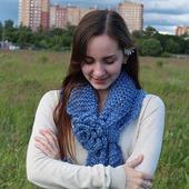 """""""Зима. Холода"""" Вязаный обьемный шарф с цветком"""