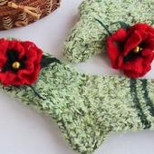 """Домашние носочки """"Маковые"""" (36-37 размер)"""