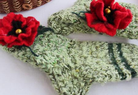 """Домашние носочки """"Маковые"""" (36-37 размер) ручной работы на заказ"""