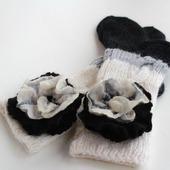 """КОМПЛЕКТ  """"Ступеньки"""" домашние трехцветные носочки+брошь"""