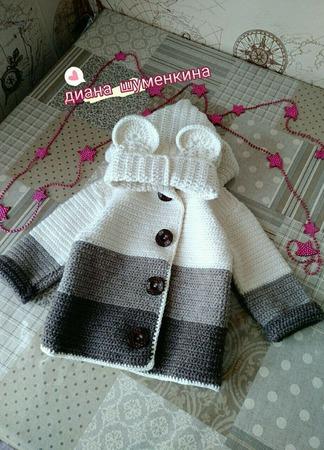 Вязаный кардиган-пальто для девочки ручной работы на заказ