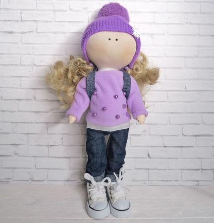 Кукла в сиреневой кофточке и джинсах ручной работы на заказ