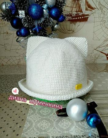 Шляпка с ушками . ручной работы на заказ