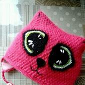 Вязаная шапка кошка для девочки