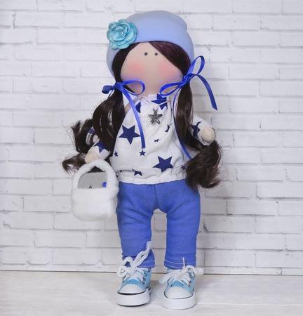Кукла в кофте со звездочками и джинсах. ручной работы на заказ