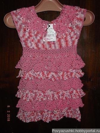 """Детское платьице """"Розовое настроение"""" ручной работы на заказ"""