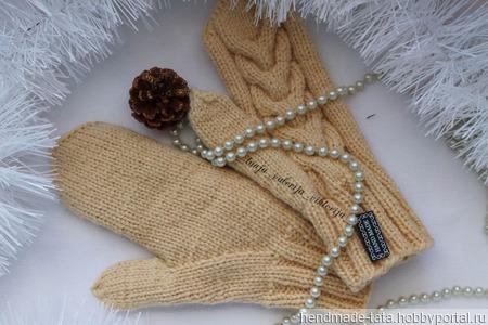 Варежки с королевской косой ручной работы на заказ