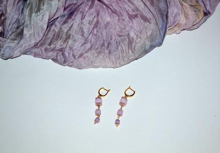 """Серьги длинные из натуральных камней """"Фиолетовое золото"""" ручной работы на заказ"""