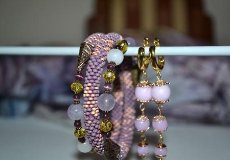 """Браслет - жгут из бисера """"Фиолетовое золото"""" ручной работы на заказ"""