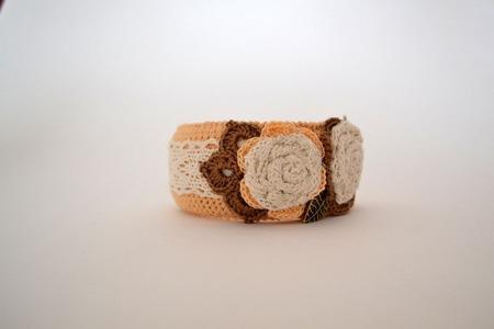 """Браслет текстильный в стиле бохо """"Молочная роза"""", авторский ручной работы на заказ"""