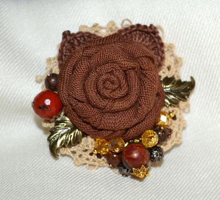 """Брошь текстильная""""Шоколад с карамелью"""",авторская ручной работы на заказ"""