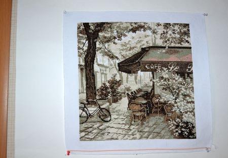 """Вышивка крестом картина """"Французское кафе"""" ручной работы на заказ"""