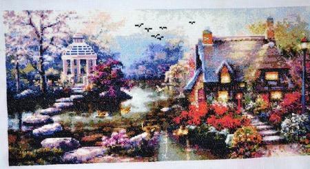 """Вышивка крестом картина """"Вечерний сад"""" ручной работы на заказ"""