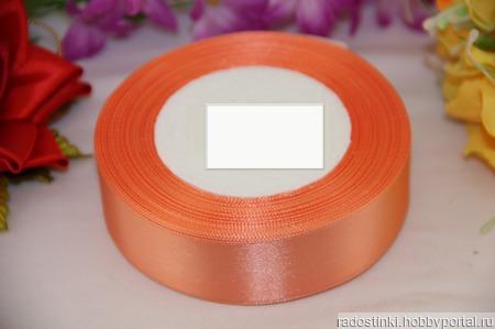 Атласная лента  25мм оранжевый цвет ручной работы на заказ