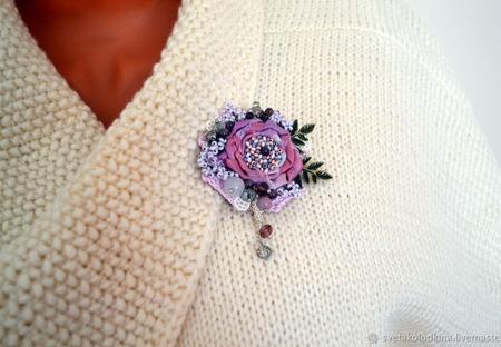 """Брошь текстильная бохо  """"Майская роза"""", авторская ручной работы на заказ"""