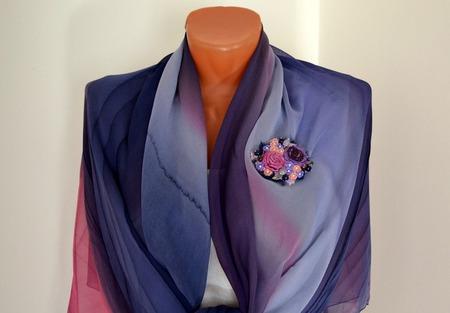 """Брошь текстильная бохо  """"Фиолетовое настроение"""" ручной работы на заказ"""