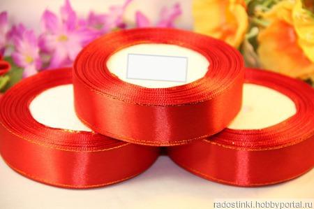 Атласная лента с люрексом 25мм красный ручной работы на заказ