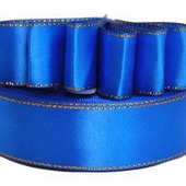 Атласная лента с люрексом 25мм синий