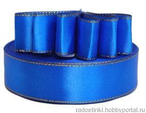 Атласная лента с люрексом 25мм синий ручной работы на заказ