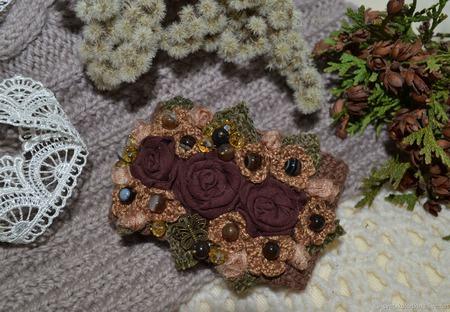 """Браслет текстильный """"Шоколадное настроение"""", авторский ручной работы на заказ"""