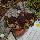 """Колье текстильное """"Шоколадное настроение"""", авторское"""