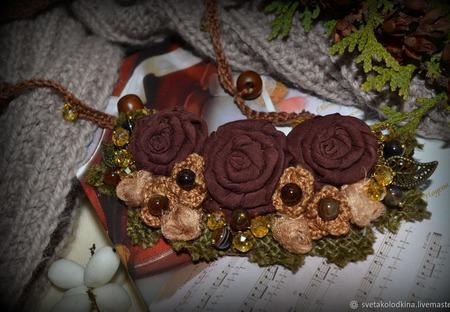 """Колье текстильное """"Шоколадное настроение"""", авторское ручной работы на заказ"""