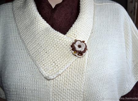 """Брошь текстильная """"Молочный шоколад"""", авторская ручной работы на заказ"""