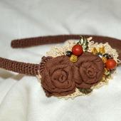 """Ободок текстильный """"Шоколад с карамелью """" авторская работа"""