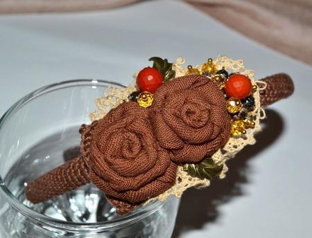 """Ободок текстильный """"Шоколад с карамелью """" авторская работа ручной работы на заказ"""