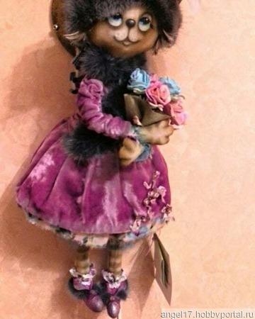 """Текстильная интерьерная кукла  ручной работы """"Кошка"""" ручной работы на заказ"""