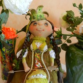 "Текстильная интерьерная кукла ""Царевна-Лягушка"""