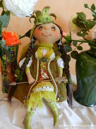 """Текстильная интерьерная кукла """"Царевна-Лягушка"""" ручной работы на заказ"""