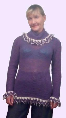 "Женский , вязанный пуловер"" EZHEVICHKA "" ручной работы на заказ"