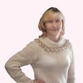 """Женский, вязанный пуловер """"CREAMY PRALINES"""" бохо ручная работа"""