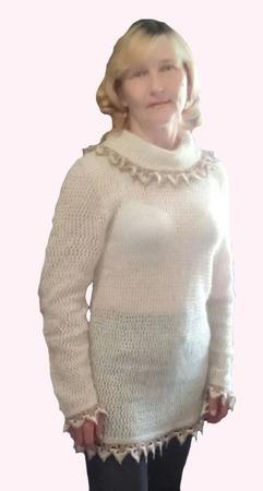 """Женский, вязанный пуловер """"CREAMY PRALINES"""" бохо ручная работа ручной работы на заказ"""
