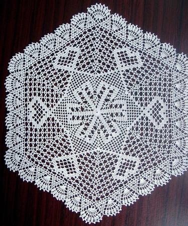 Большая шестиугольная салфетка вязаная крючком ручной работы на заказ