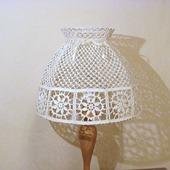 Большой абажур для настольной лампы или торшера, вязаный крючком