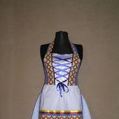 """Фартук-дирндль женский  """"Голубой с орнаментом,"""" платье-дирндль, синий"""