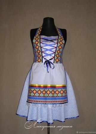 """Фартук-дирндль женский  """"Голубой с орнаментом,"""" платье-дирндль, синий ручной работы на заказ"""