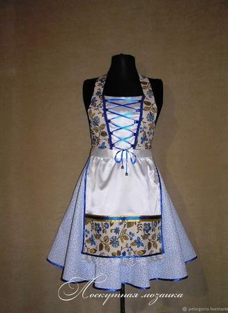 """Фартук-дирндль женский  """"Синий лен"""",октоберфест, карнавальный костюм ручной работы на заказ"""