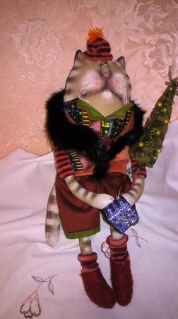 """Текстильная интерьерная игрушка """"Новогодний Котэ"""" ручной работы на заказ"""