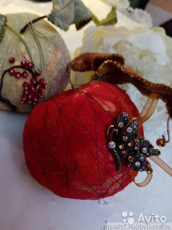 Текстильные интерьерные яблоки и груши ручной работы на заказ